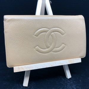 CHANEL STITCHED CC LOGO BEIGE LEATHER LONG WALLET